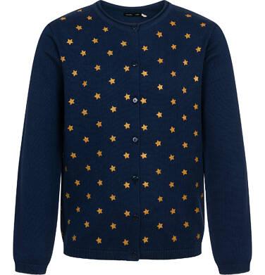 Endo - Sweter dla dziewczynki, rozpinany, w gwiazdki, granatowy, 2-8 lat D04B005_1 23