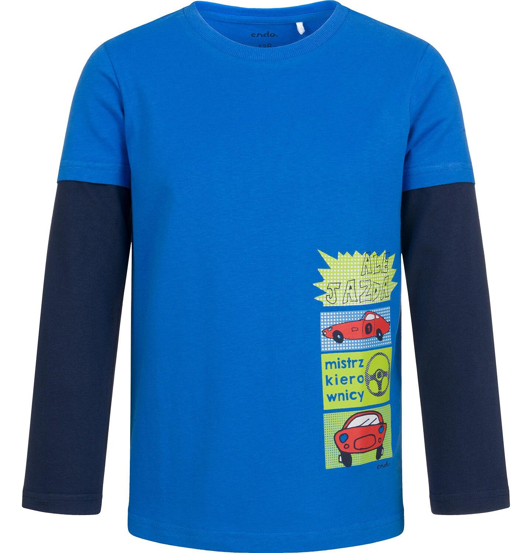 Endo - T-shirt z długim rękawem dla chłopca, z samochodami, niebieski, 2-8 lat C04G192_2