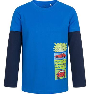 T-shirt z długim rękawem dla chłopca, z samochodami, niebieski, 2-8 lat C04G192_2