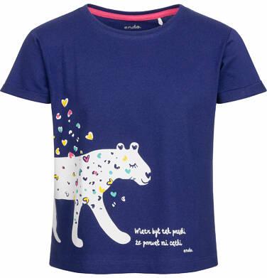 Bluzka z krótkim rękawem dla dziewczynki, tropikalny zwierzyniec, granatowa, 2-8 lat D03G065_1