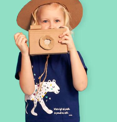 Endo - Bluzka z krótkim rękawem dla dziewczynki, tropikalny zwierzyniec, granatowa, 2-8 lat D03G065_1