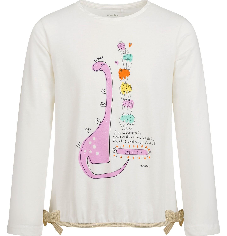 Endo - Bluzka z długim rękawem dla dziewczynki, z dinozaurem, porcelanowa, 2-8 lat D04G109_1