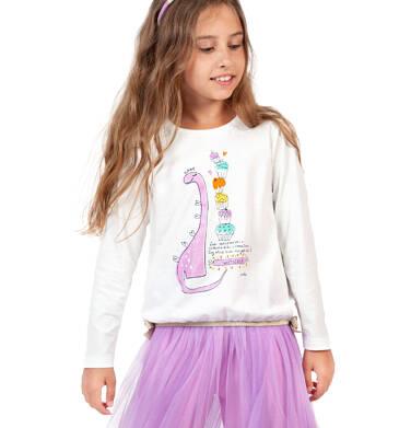 Endo - Bluzka z długim rękawem dla dziewczynki, z dinozaurem, porcelanowa, 2-8 lat D04G109_1 166