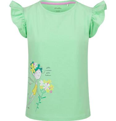Endo - Bluzka z krótkim rękawem dla dziewczynki, z wróżką, zielona, 2-8 lat D03G089_1