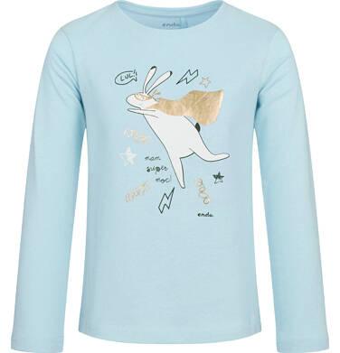 Endo - Bluzka z długim rękawem dla dziewczynki, z zającem, jasny błękit, 2-8 lat D03G211_1 151