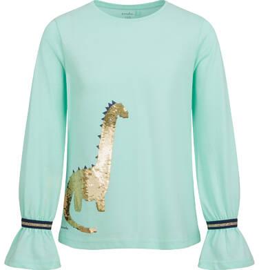 Bluzka z długim rękawem dla dziewczynki, z dinozaurem, miętowa, 2-8 lat D04G110_1