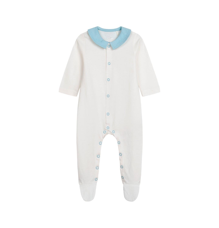 Endo - Pajac dla dziecka do 2 lat, z kołnierzykiem i napisem z tyłu, kremowy N05N028_1
