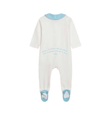 Endo - Pajac dla dziecka do 2 lat, z kołnierzykiem i napisem z tyłu, kremowy N05N028_1,2