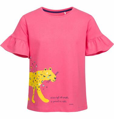 Endo - Bluzka z krótkim rękawem dla dziewczynki, z panterą w serca, różowa, 2-8 lat D03G066_1