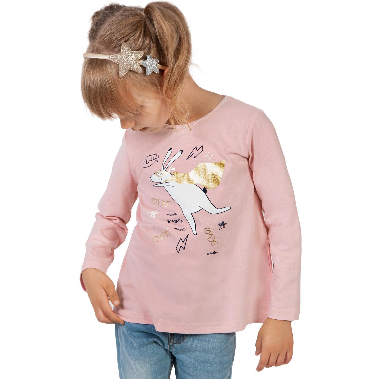 Endo - Bluzka z długim rękawem dla dziewczynki, z zającem, różowa, 2-8 lat D03G211_2