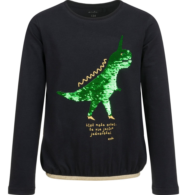 Endo - Bluzka z długim rękawem dla dziewczynki, z dinozaurem, czarna, 9-13 lat D04G119_1