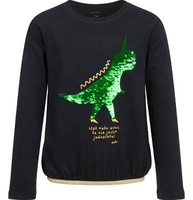 Endo - Bluzka z długim rękawem dla dziewczynki, z dinozaurem, czarna, 9-13 lat D04G119_1,1
