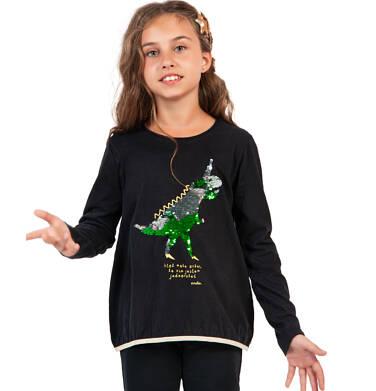 Endo - Bluzka z długim rękawem dla dziewczynki, z dinozaurem, czarna, 9-13 lat D04G119_1,2