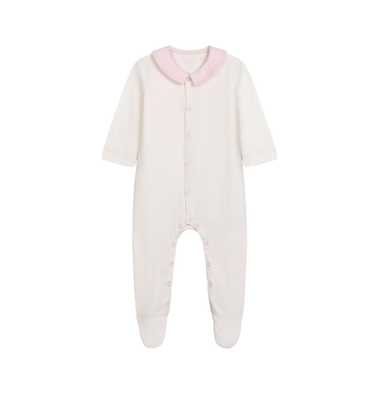 Endo - Pajac dla dziecka do 2 lat, z kołnierzykiem i napisem z tyłu, kremowy N05N029_1