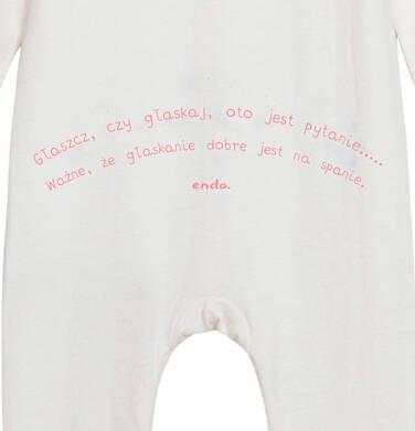 Endo - Pajac dla dziecka do 2 lat, z kołnierzykiem i napisem z tyłu, kremowy N05N029_1 1