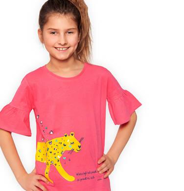 Endo - Bluzka z krótkim rękawem dla dziewczynki, z panterą w serca, różowa, 9-13 lat D03G566_1 16