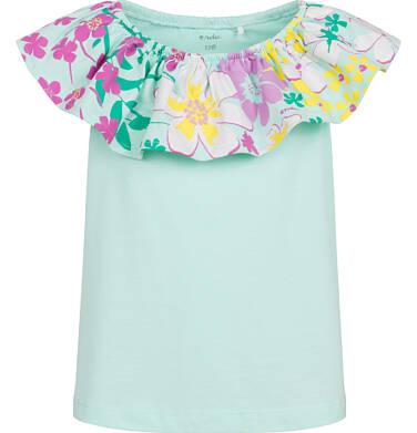Endo - Bluzka z krótkim rękawem dla dziewczynki, z kwiatowym kołnierzykiem, niebieska, 2-8 lat D03G092_1