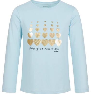 Endo - Bluzka z długim rękawem dla dziewczynki, w serca, niebieska, 6-8 lat D03G214_1 1