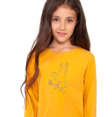 Endo - Bluzka z długim rękawem dla dziewczynki, żółta, 9-13 lat D04G124_2,2