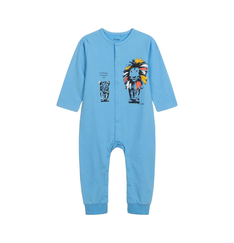 Endo - Pajac dla dziecka do 2 lat, z małym i dużym lwem, niebieski N05N038_1