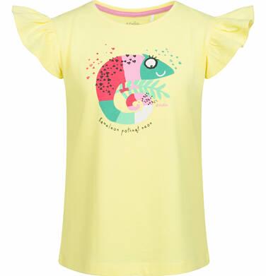 Endo - Bluzka z krótkim rękawem dla dziewczynki, z kameleonem, żółta, 2-8 lat D03G068_1