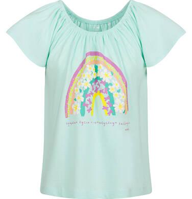 Endo - Bluzka z krótkim rękawem dla dziewczynki, z tęczą, niebieska, 2-8 lat D03G096_1 292