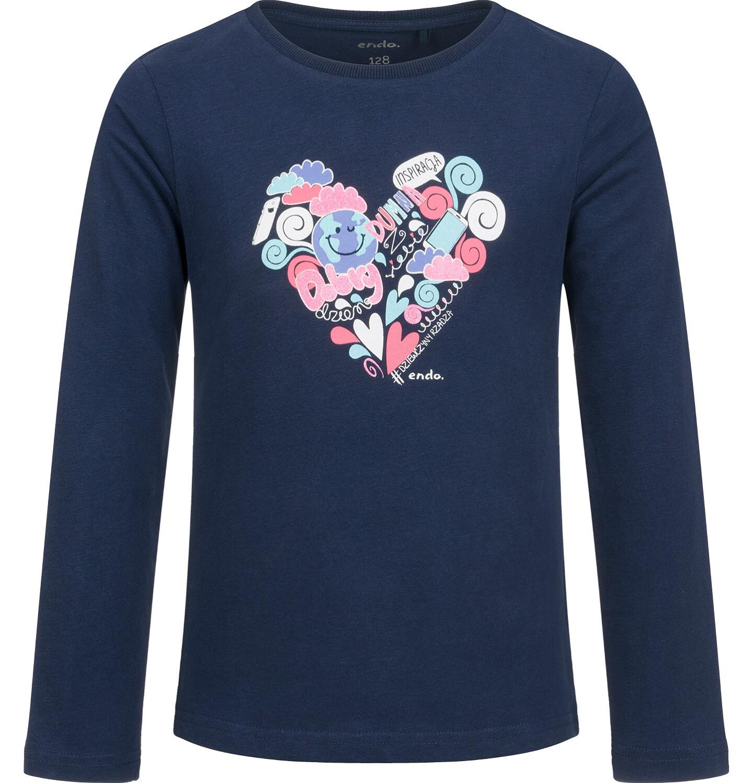 Endo - Bluzka z długim rękawem dla dziewczynki, z sercem, granatowa, 9-13 lat D03G683_1