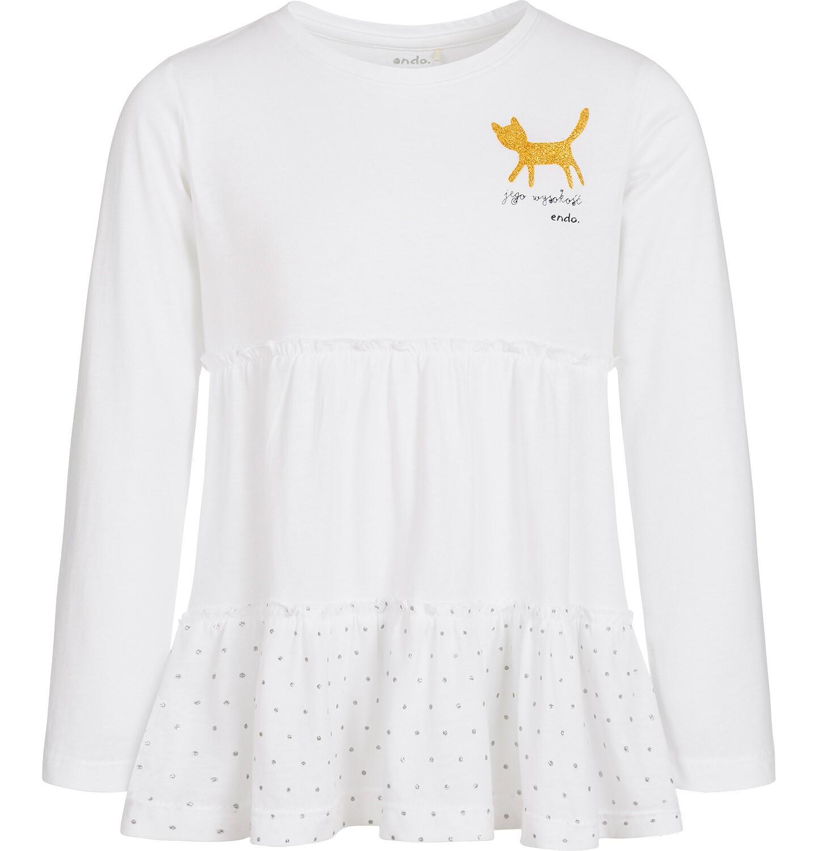Endo - Bluzka z długim rękawem dla dziewczynki, jego wysokość kot, biała, 9-13 lat D92G527_1