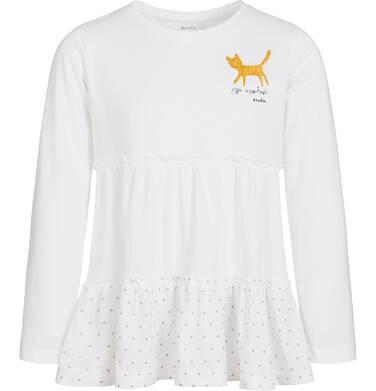 Endo - Bluzka z długim rękawem dla dziewczynki, jego wysokość kot, biała, 9-13 lat D92G527_1 190