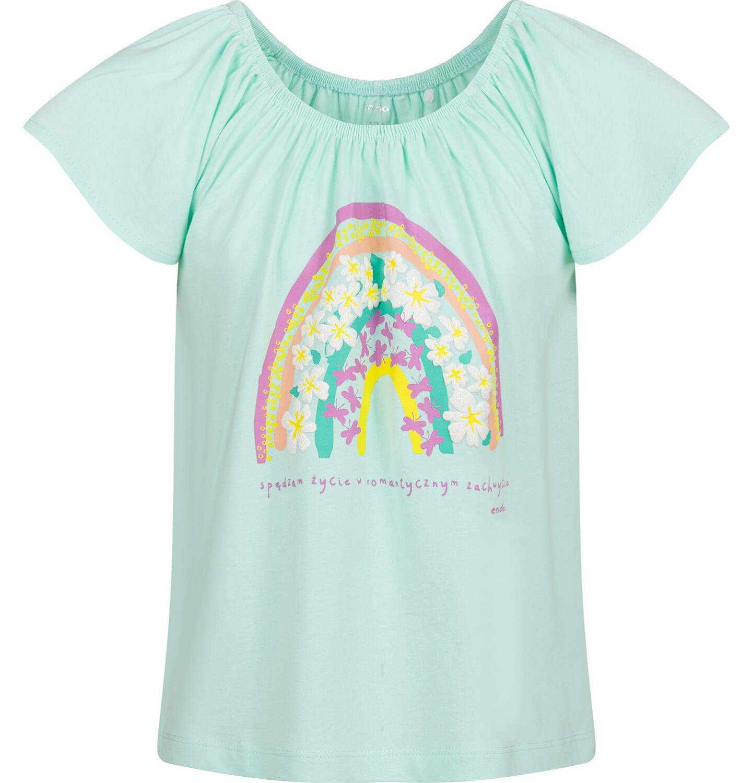 Endo - Bluzka z krótkim rękawem dla dziewczynki, z tęczą, zielona, 9-13 lat D03G596_1