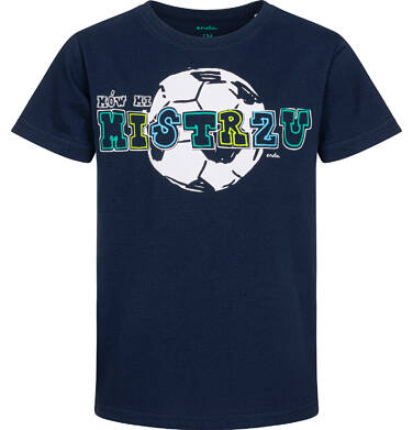 Endo - T-shirt z krótkim rękawem dla chłopca, z piłką i napisem, granatowy, 9-13 lat C05G036_1 17
