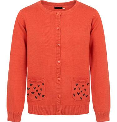 Endo - Sweter dla dziewczynki, rozpinany, pomarańczowy, 9-13 lat D04B015_1 1