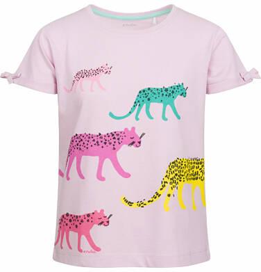 Bluzka z krótkim rękawem dla dziewczynki, w kolorowe pantery, różowa, 9-13 lat D03G570_1