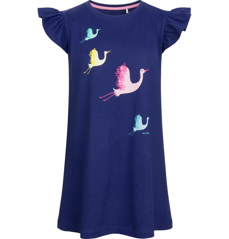 Endo - Sukienka z krótkim rękawem, w kolorowe żurawie, granatowa, 2-8 lat D03H002_1