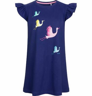 Sukienka z krótkim rękawem, w kolorowe żurawie, granatowa, 2-8 lat D03H002_1