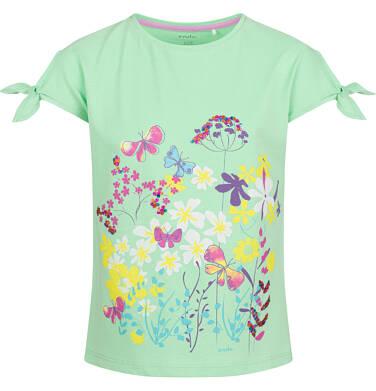 Endo - Bluzka z krótkim rękawem dla dziewczynki, z kokardkami na rękawach, zielona, 9-13 lat D03G598_1