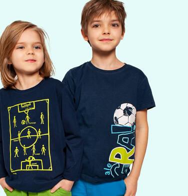 Endo - T-shirt z krótkim rękawem dla chłopca, z piłką i napisem, granatowy, 2-8 lat C05G056_1 6
