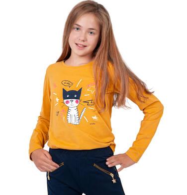 Endo - Bluzka z długim rękawem dla dziewczynki, z kotem, żółta, 9-13 lat D03G693_2 23