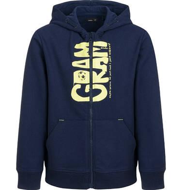 Endo - Rozpinana bluza z kapturem dla chłopca, gram, granatowa, 9-13 lat C03C510_1