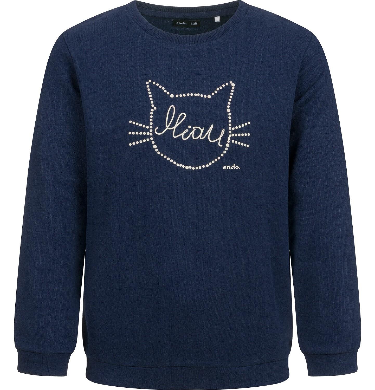 Endo - Bluza dla dziewczynki, z kotem, granatowa, 2-8 lat D04C001_1