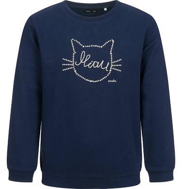 Bluza dla dziewczynki, z kotem, granatowa, 2-8 lat D04C001_1