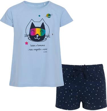 Endo - Piżama z krótkim rękawem dla dziewczynki, z kotem astronautą, niebieska, 2-8 lat D05V018_1 10