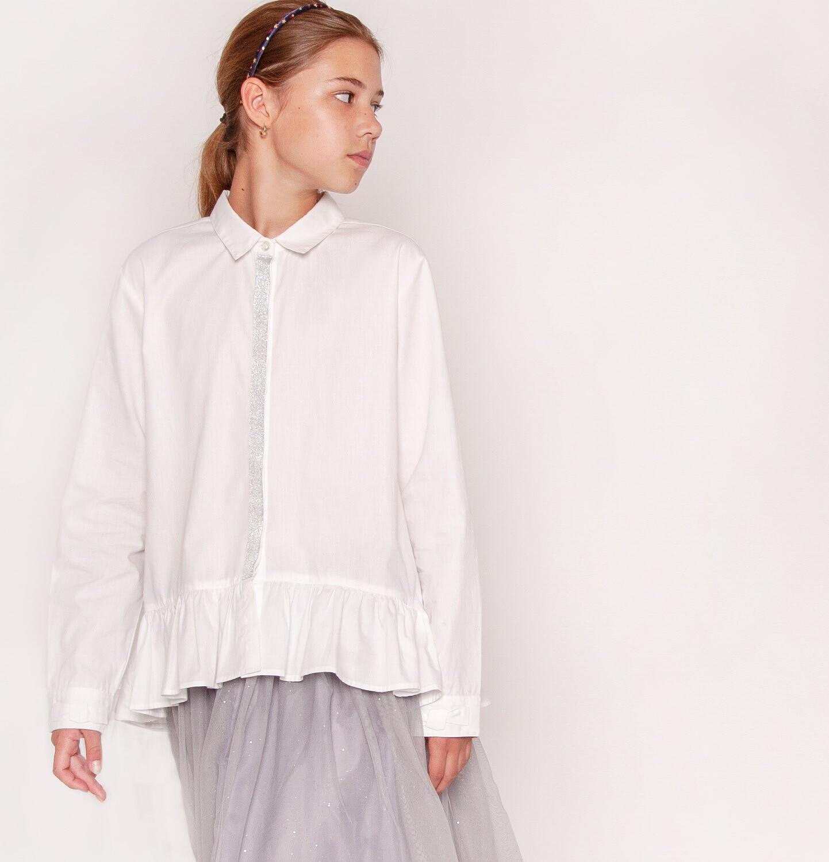 Endo - Koszula z długim rękawem dla dziewczynki, biała, 9-13 lat D92F511_2