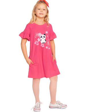 Endo - Sukienka z krótkim rękawem, z pandą, różowa, 2-8 lat D03H003_1 17
