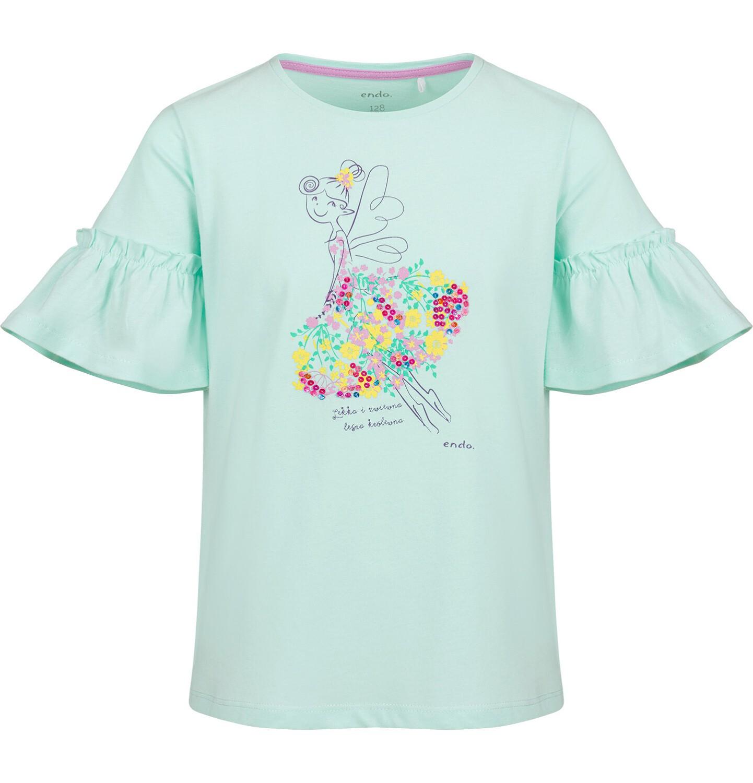 Endo - Bluzka z krótkim rękawem motylkowym dla dziewczynki, w kwiaty, zielona, 9-13 lat D03G599_1