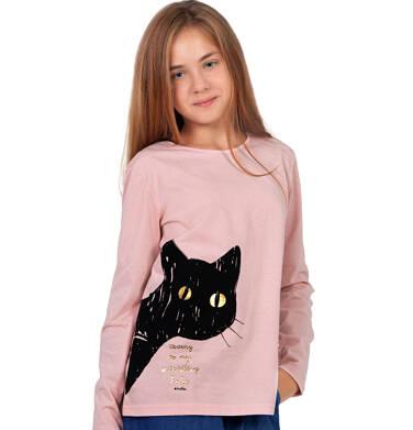 Endo - Bluzka z długim rękawem dla dziewczynki, z kotem, różowa, 9-13 lat D03G696_1 6