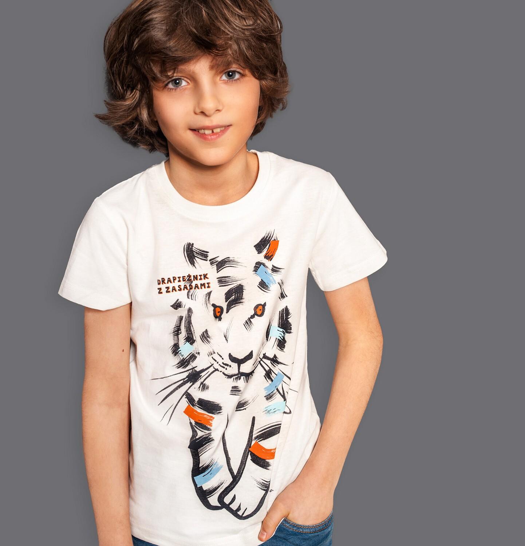 Endo - T-shirt z krótkim rękawem dla chłopca, z tygrysem, kremowy, 2-8 lat C05G089_1