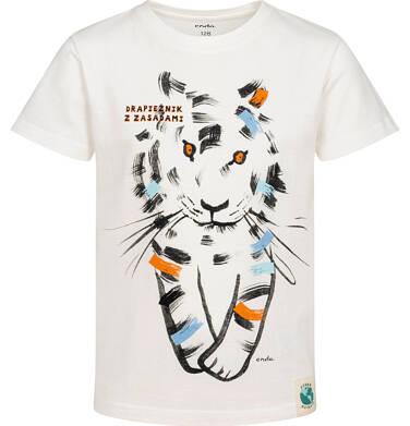 Endo - T-shirt z krótkim rękawem dla chłopca, z tygrysem, kremowy, 2-8 lat C05G089_1 8