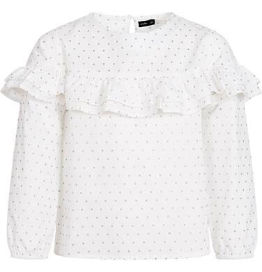 Koszula z długim rękawem dla dziewczynki, z falbanką, biała, 9-13 lat D92F502_1
