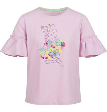 Endo - Bluzka z krótkim rękawem dla dziewczynki, w kwiaty, motylkowy rękaw, różowa, 2-8 lat D03G099_2 263